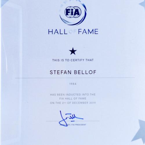 Stefan Bellof FIA Hall of Fame Urkunde | © Stefan Bellof Official