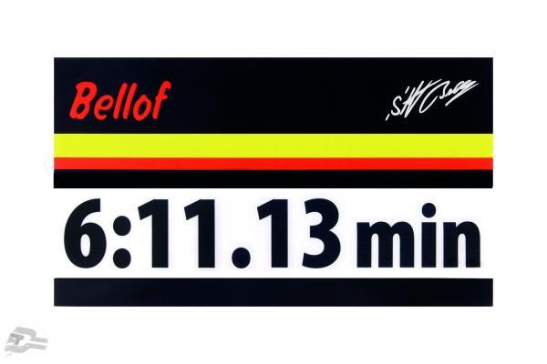 Stefan Bellof Aufkleber record lap 6:11.13 min black 200 x 35 mm