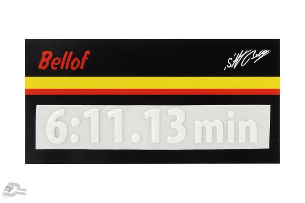 Stefan Bellof 3D Aufkleber Rekordrunde 6:11.13 min weiß 120 x 25 mm