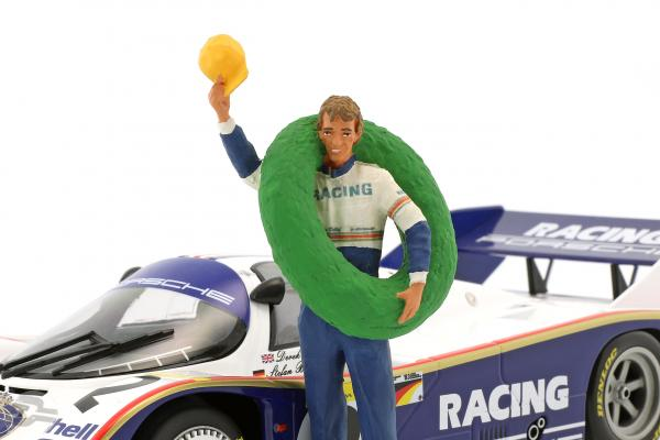 Stefan Bellof Driver figure with winner garland  FigurenManufaktur