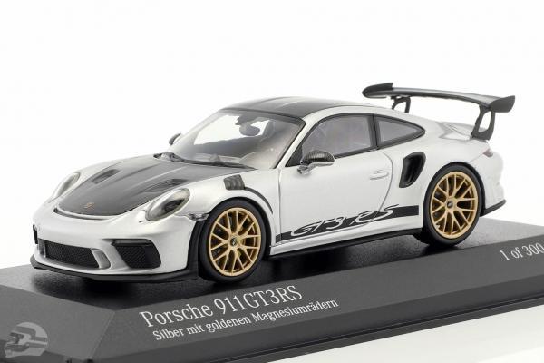 Porsche 911 (991 II) GT3 RS Weissach-Paket 2018 silber mit goldenen Felgen