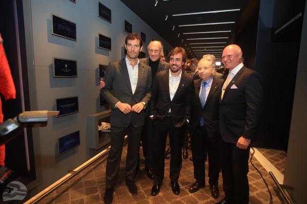 vlnr: Mark Webber, Hans Stuck, Fernando Alonso, Jean Todt, Georg Bellof | © Stefan Bellof Official