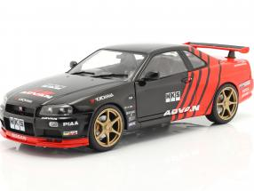 Nissan Skyline GT-R (R34) Advan Drift year 1999 black / red 1:18 Solido
