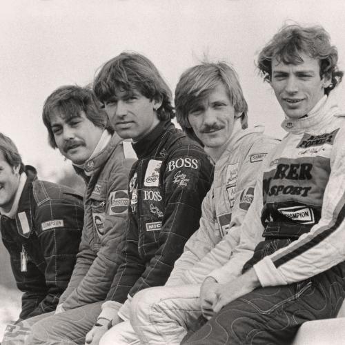 Formel 2 1982: Frank Jelinski, Günther Gebhard, Christian Danner, Harald Brutschin, Stefan Bellof | © Ferdi Kräling Motorsport-Bild GmbH