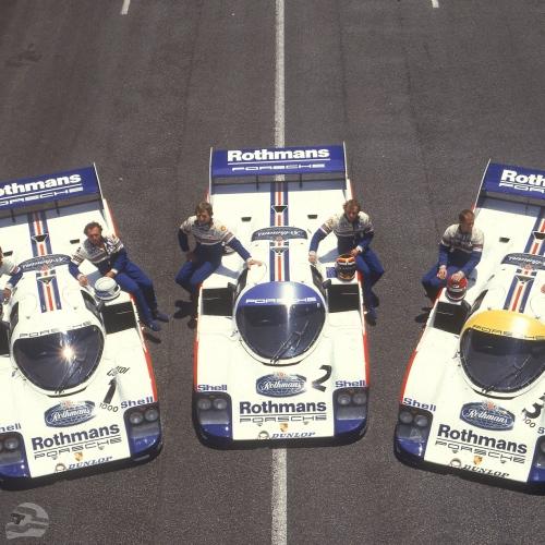 Rennen Kyalami 1983; Porsche Typ 956 KH, Porsche Rennfahrer v.r.n.l.: Vern Schuppan, Al Holbert, Stefan Bellof, Derek Bell, Jochen Mass, Jacky Ickx | © Porsche AG